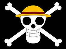 草帽路飞的海贼旗矢量图