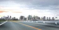 大气城市街道背景PSD素材