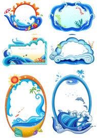 蓝色海浪背景PSD素材