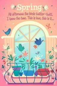 阳台小鸟春天来了矢量图