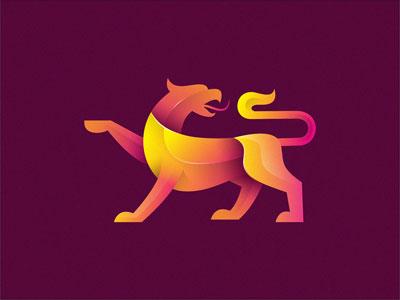 30款重叠渐变效果动物logo设计