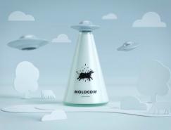 UFO造型的Molocow牛奶包装设计