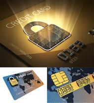 密码锁与信用卡PSD图片