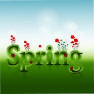 春季Spring艺术字矢量图