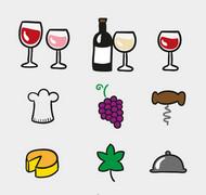 葡萄酒元素图标矢量图片