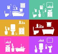 彩色浴室背景矢量图片