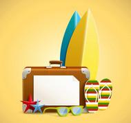 沙滩度假用品矢量图片