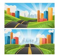通向城市的公路矢量图片