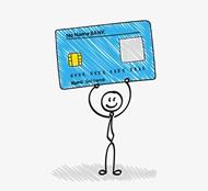 举银行卡的小人矢量图片