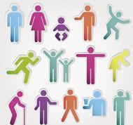 彩色人物贴纸矢量图片