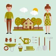 人物和园艺工具矢量图片