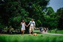 情侣公园散步图片大全