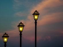 黄昏街灯素材图片素材