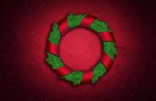 圣诞花圈红色背景精美图片