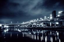城市大桥灯光夜景图片素材