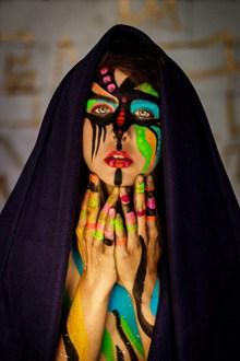 人体彩绘美女头像图片素材