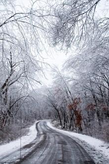 冬季雪天公路风景高清图