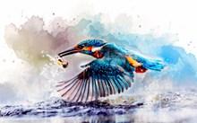 翠鸟水彩画图片下载