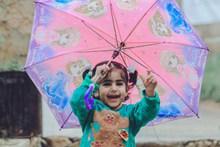 打伞玩的小女孩的高清图片