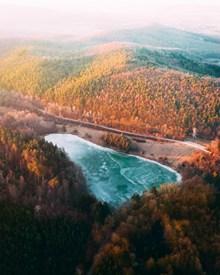 树林湖泊风景图片素材