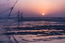 紫色夕阳唯美风景图片素材