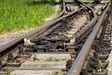 铁路铁轨近景特写高清图片