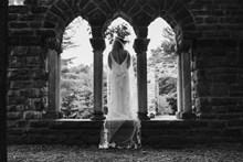 新娘婚纱黑白背影精美图片