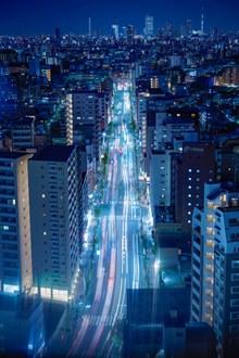 城市车流线唯美夜景图片素材