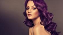 紫色烫发卷发发型图片