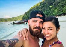 海边情侣自拍精美图片