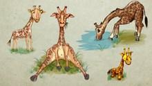 卡通长颈鹿背景图片下载