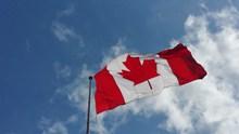 加拿大旗帜飘扬图片下载