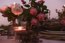 浪漫水培玫瑰插花精美圖片