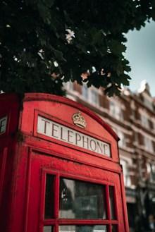 紅色公用電話亭圖片素材