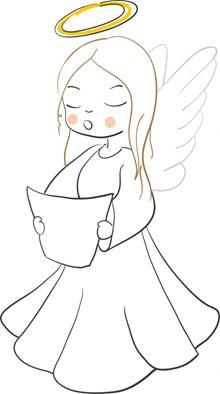 小天使簡筆線條畫圖片