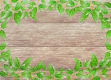 树叶边框木板背景图片