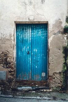 蓝色简陋木大门图片下载