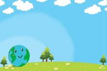 世界地球日卡通背景图片