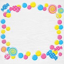 儿童节棒棒糖卡通边框背景图片素材