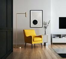 单人黄色沙发椅高清图片
