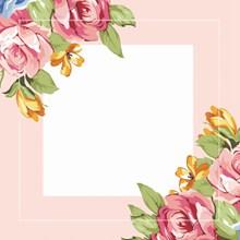 粉色花卉边框背景图片下载