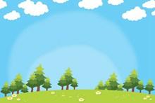 蓝天白云草地卡通背景高清图片