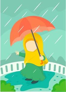 下雨天撑伞卡通高清图