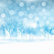 蓝色梦幻冬季背景图片下载