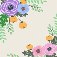 扁平化卡通花卉背景图片