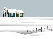 冬季雪地雪屋卡通图片