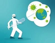 打击新冠病毒插画素材高清图片