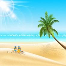 小清新夏季海边卡通图片下载