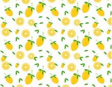 黄色卡通水果平铺背景精美图片