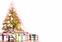 唯美圣诞树礼物背景高清图